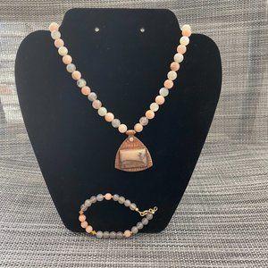 Artisan Brass Picture Jasper Necklace Bracelet Set